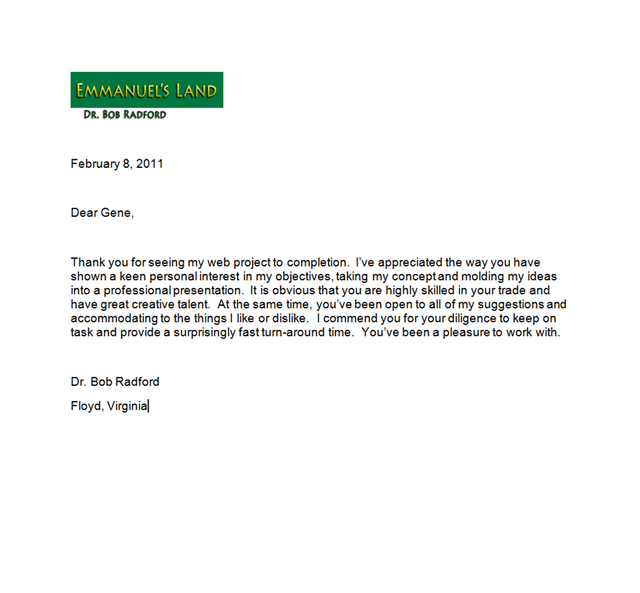 Testimonial Letter from Emmanuel's Land Website